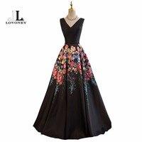 LOVONEY Evening Dresses Long A Line V Neck Sexy Formal Dress Flower Pattern Satin Party Dresses