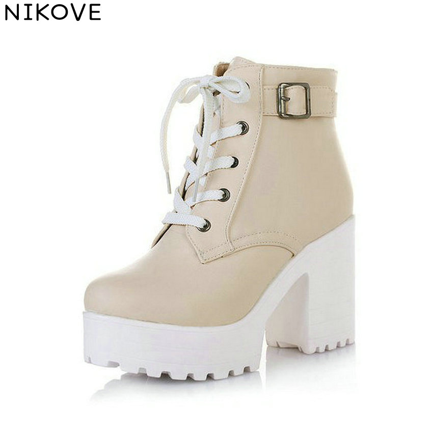 NIKOVE New 2016 Women Ankle Boots Round Toe Platform Buckle Square High Boots For Women Fashion Winter Punk Shoes Size 34-43 new fashion round toe thin heels ankle boots for women wedding shoes platform pumps boots big size 34 43
