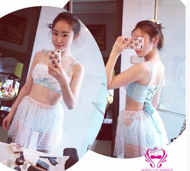 ФОТО three Piece Swimsuit Swimming Suit For Women Plus Size Swimwear High Waist Flower Skirt Bikinis Three Maillot De Bain Une Badpak