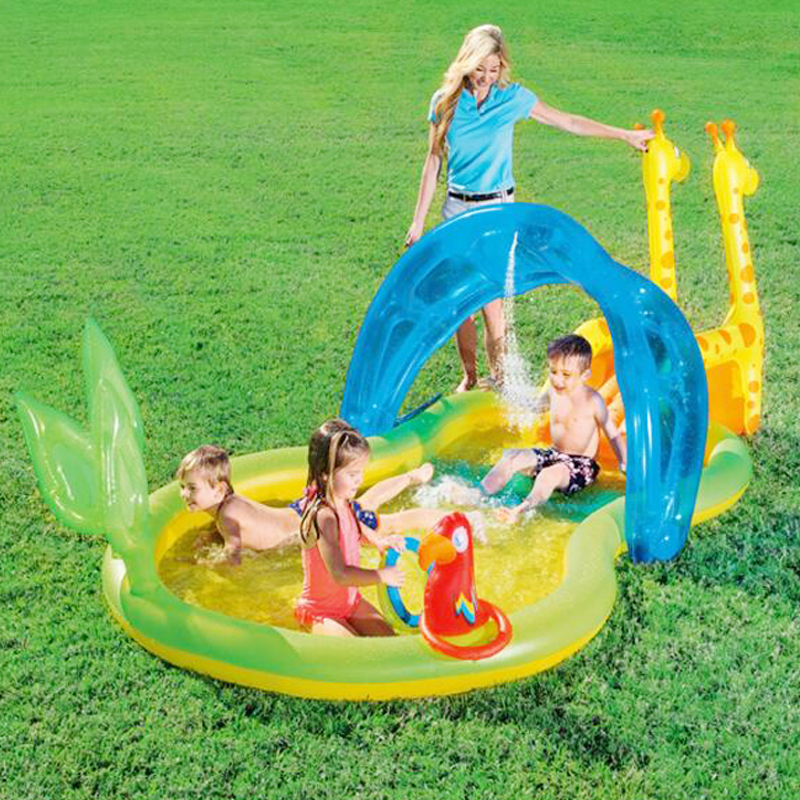 338*167*129cm inflatable inflatable slide pool sea pool pool baby children swimming pool fishing thickening Basin children shark blue inflatable water slide with blower for pool