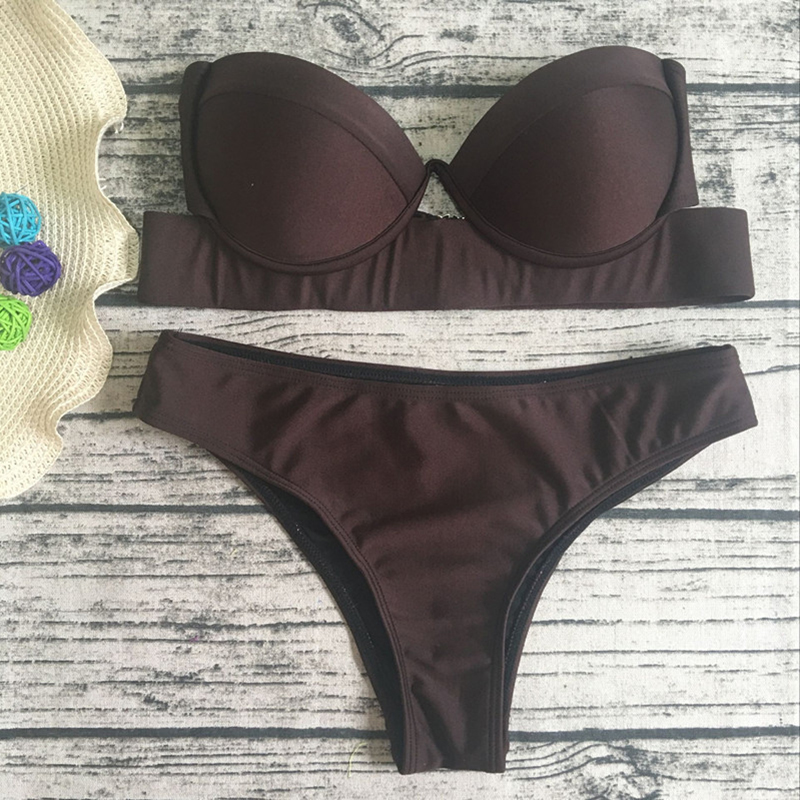 e14f738a1d Pacento Solid Black Bandeau Bikini Women Strapless Beachwear Push Up  Swimsuit Female Summer Bathing Suit Sexy Biquini Plavky May-in Bikinis Set  from Sports ...