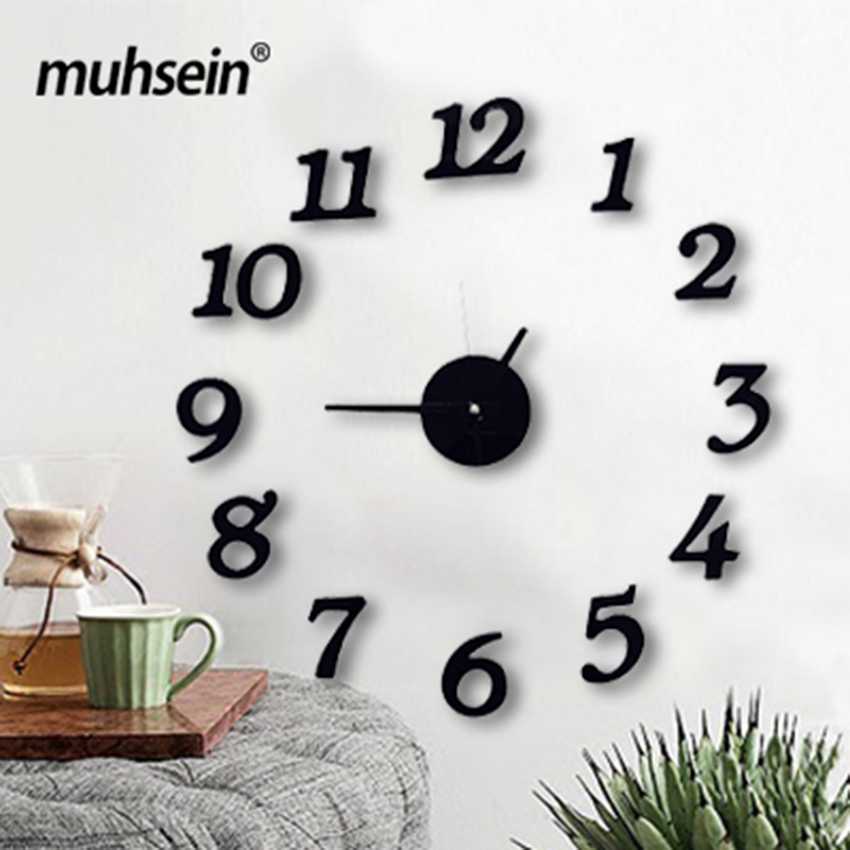 Free Shipping 3d Best Home Decoration Diy Wall Clock Unique Large