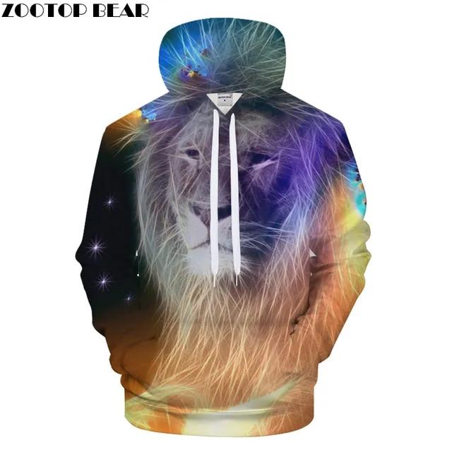 Fashion lion hooded shirts men/women printed 3d hoodies Casual graphic hoodie funny Sweat shirt tie-dye Sweatshirt tops 2019