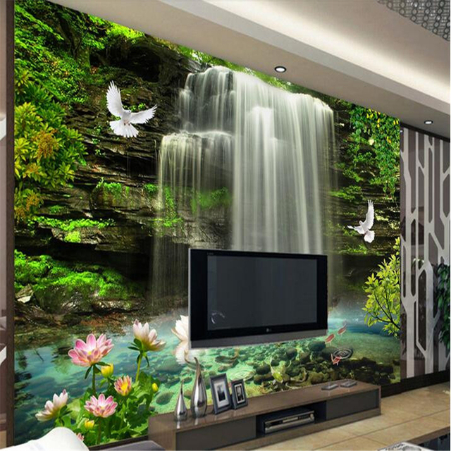 Beibehang Custom Mural 3d Wall Papers Home Decor Natural Waterfall Photo  Wallpaper For Walls 3 D