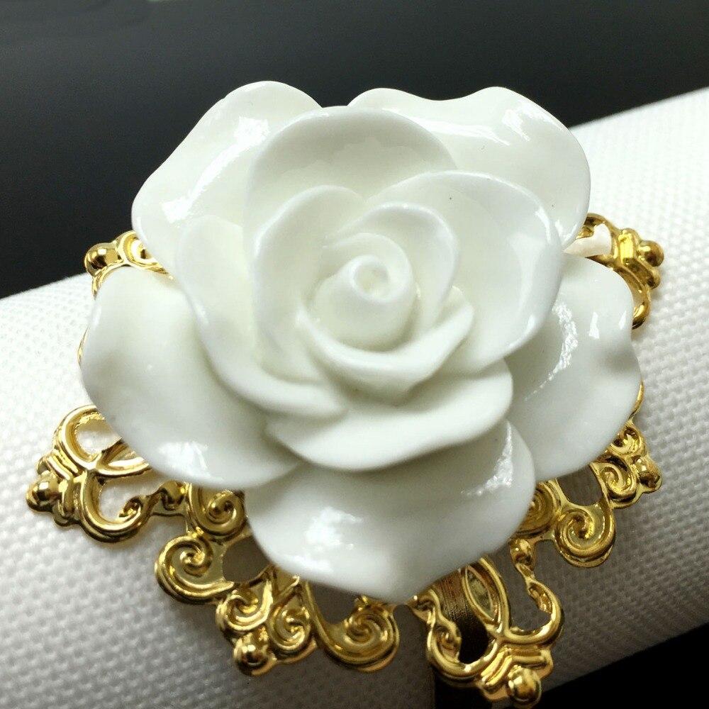 Online Shop 25pcslot White Color Colors Rose Flower Decor Gold