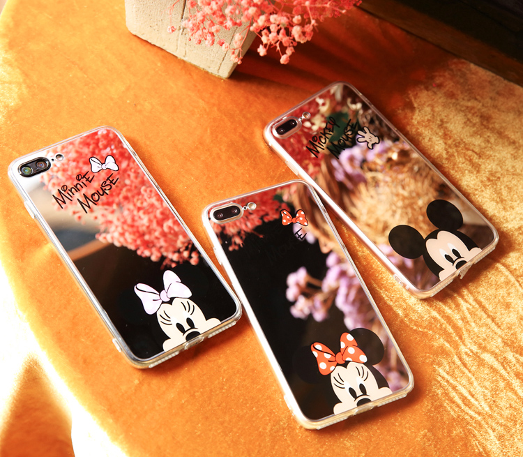 HTB1G7pIbaagSKJjy0Faq6z0dpXad - Minnie Mickey Mouse Mirror Case for iPhone 6 s 6S X 10 7 8 Plus 6Plus 6sPlus 7Plus 8Plus SE 5S Cover silicone PTC 333
