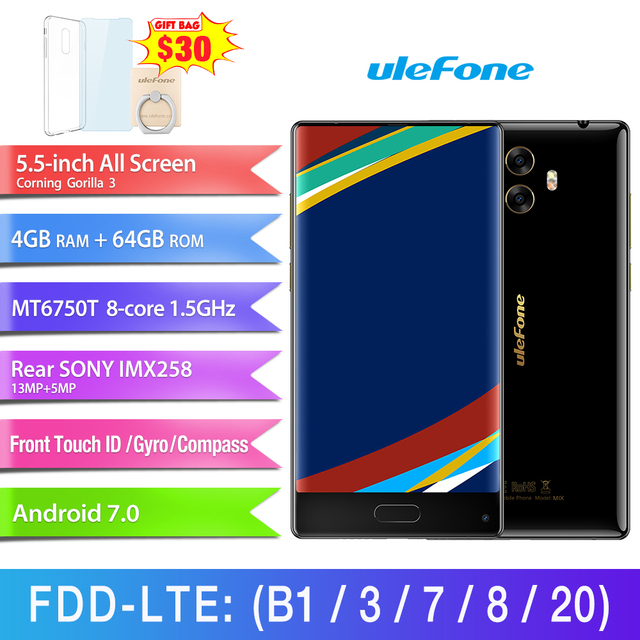 Ulefone MIX 4GB+64GB Front Fingerprint Identification Dual Back Cameras 5.5'' Android 7.0 MTK6750T Octa Core 64-bit up to 1.5Ghz