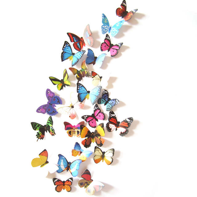 Online Shop 24pcs Butterfly 3D DIY Wall Sticker Stickers Home Decor Room Decorations New Fashion TV Background Decals
