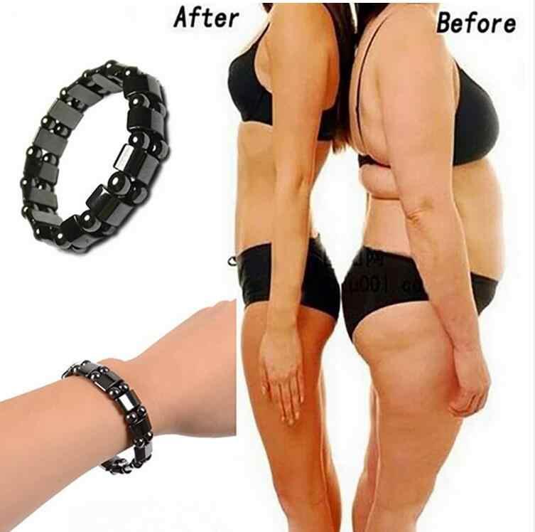 Venda quente unisex perda de peso redonda pedra preta terapia magnética pulseira de cuidados de saúde magnética hematite estiramento pulseiras b3008