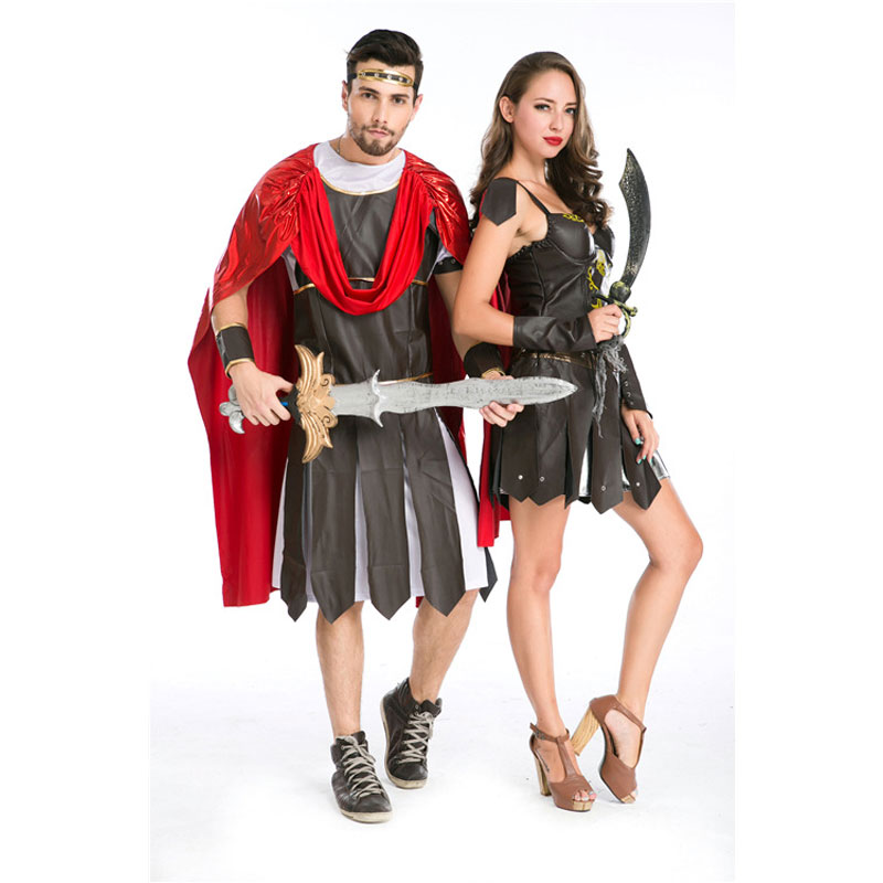 Umorden Halloween fête adulte hommes femmes romain grec soldat gladiateur Costume spartiate guerrier Costumes Cosplay pour Couple 2 ensemble - 2