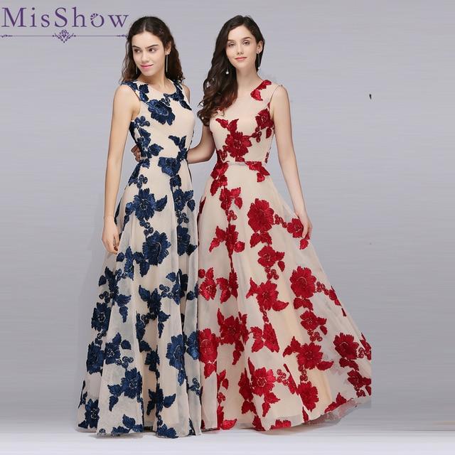 e52d017187b1b Barato Sob 60 $ Vestido de festa Bordado Laço Longo De Tule Azul Marinho  noite Formal