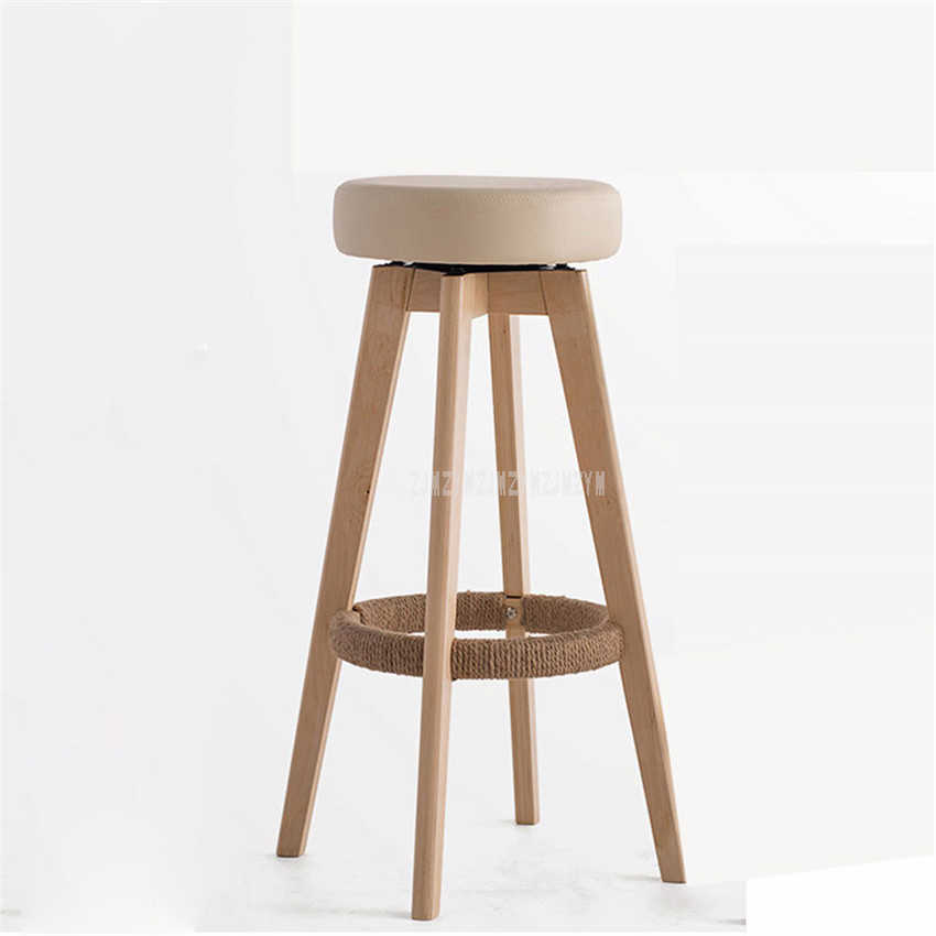 Peachy Wooden Swivel Bar Stools Modern Natural Finish Round Pu Leather Sponge Soft Seat Backless Commerical Bar Furniture 74Cm Height Pdpeps Interior Chair Design Pdpepsorg