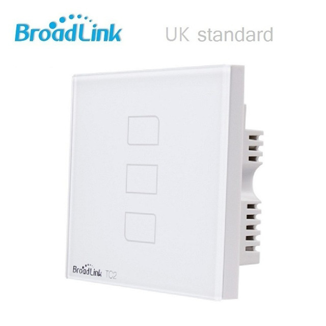 UK Standard Broadlink TC2 3 Gang Remote Control Light Switch, Wireless Control Light Switch, Wall Touch Switch For Smart Home eu uk standard sesoo 3 gang 1 way remote control wall touch switch wireless remote control light switches for smart home