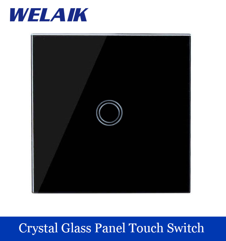 WELAIK New Crystal Glass Panel EU Switch Wall Switch Touch Switch Screen  A1911XB Light Switch 1gang 1way 110~250V LED lamp smart home us au wall touch switch white crystal glass panel 1 gang 1 way power light wall touch switch used for led waterproof
