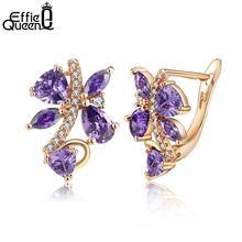 Effie Queen Classic Jewelry Silver Color Stud Earrings Elegant Purple Color AAA Cubic Zirconia Stone Earring Women Aros DDE56-P yoursfs романтические серьги для ювелирных изделий для свадьбы элегантный золотой серебристый цвет aaa cubic zirconia stone earring