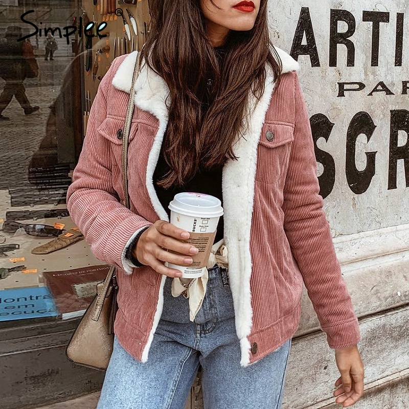 Simplee Corduroy winter jacket coat women Long sleeve casual lambswool Jackets Warm   parka   female outwear coat 2019