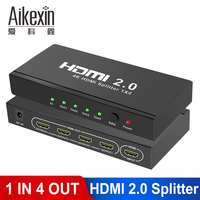 Aikexin UHD 4K HDMI 2.0 Splitter 1x2 1x4 HDCP 2.2 3D 1 Input 2 Output HDMI Switch Box Hub with EDID 1080p 2160p@60Hz