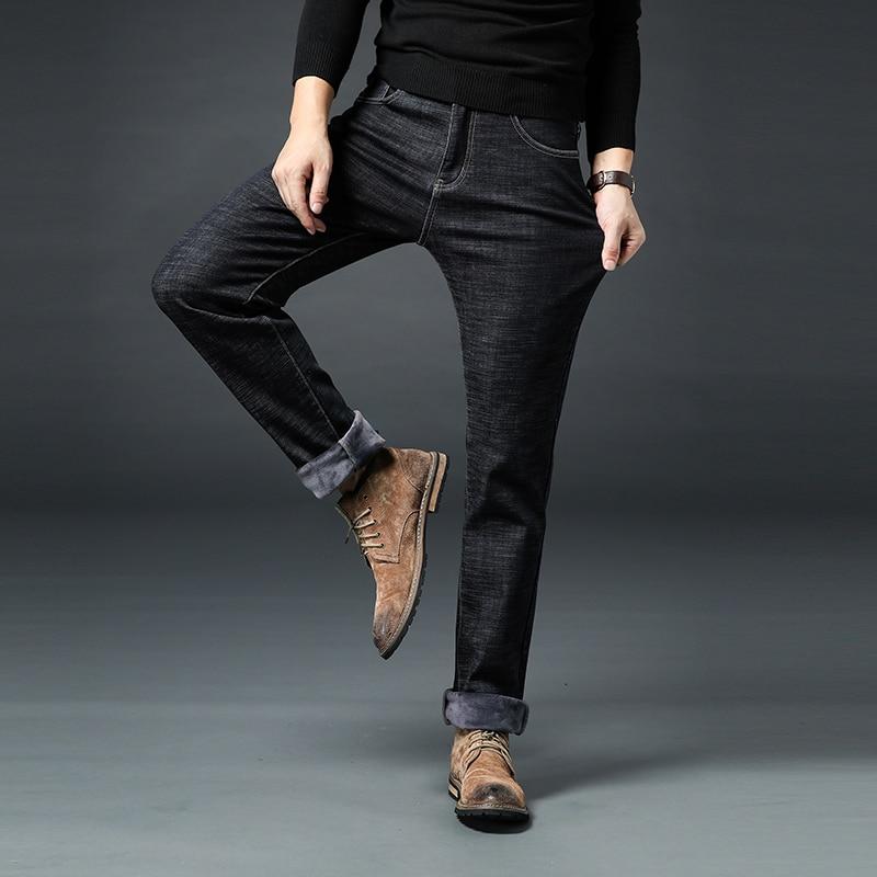 Image 5 - Новые мужские брендовые джинсы, зимние мужские теплые джинсы,  деловые повседневные Прямые Стрейчевые плотные тонкие джинсовые штаны  черного и синего цвета, большие размеры 28 40Джинсы