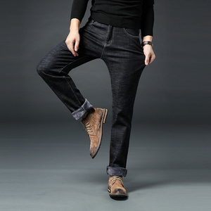 Image 5 - New Male Brand Jeans Winter Mens Warm Jeans Business Casual Straight Stretch Thick Slim Denim Pants Black Blue Plus Size 28 40