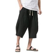 Летние мужские льняные штаны, мужские широкие брюки, мужские брюки с заниженным шаговым швом, китайский стиль, хип-хоп, мужские бегуны, укороченные штаны, спортивные штаны