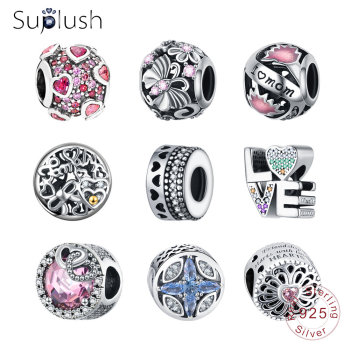 Suplush 100% 925 Sterling Silver Sparkling Bead Charms Fit Original Pandora Bracelet Women Diy Jewelry Accessories Gift Beads