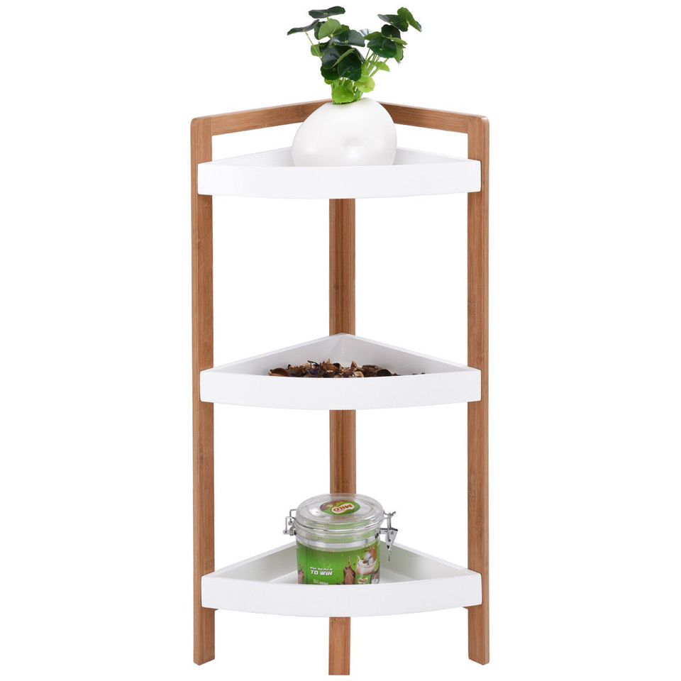 Giantex 3 Tier Corner Shelf Free Standing Corner Rack Tower Organizer Living Room Bathroom Kitchen Shelving Shelf Storage Natural