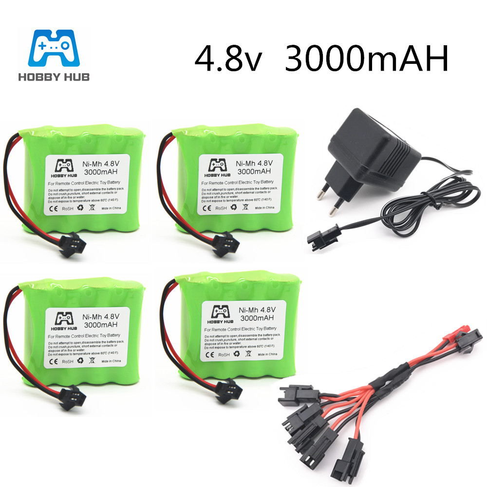 Hobby Hub Nimh 4.8V 3000mAh 2400mAh 2800mAh With Charger For RC Car Ship Remote Control Toys Electric Toy AA 3000 Mah Battery