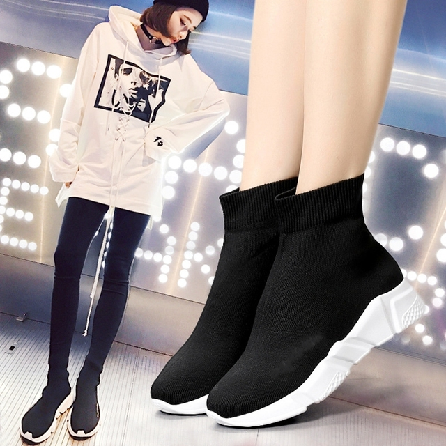 3e978375b44a 2017 Woman Running Shoes Platform Top Quality High Ankle Socks Sports Shoes  raf simons Unique Tongue Design Breathable Sneakers