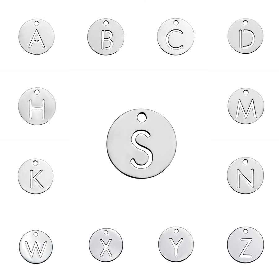 1X Titanium Steel 26 Letters A-Z Charms Round Pendants Jewelry Making DIY Letter Bracelet Necklace Accessories