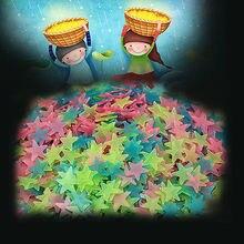 100pcs 3cm Children Cartoon PVC Luminous Patch Neon 3D Sticker Star Wall Stickers DIY Home Decoration Accessories