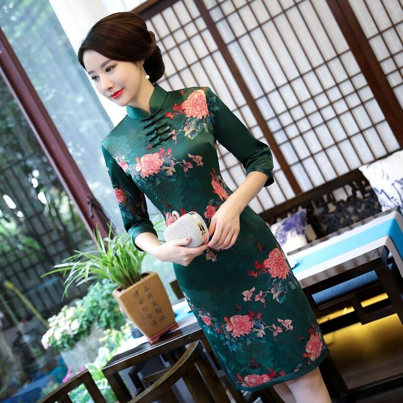 Мода китайский мини Cheongsam новое поступление Для женщин Шелковый полиэстер элегантное платье Qipao Vestidos Размеры размеры s m l xl XXL, XXXL 1275715