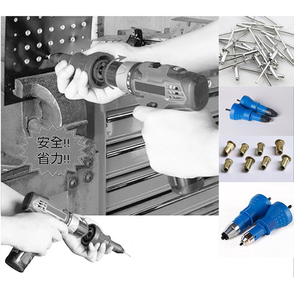 Electric Rivet Nut Gun Riveting Tool Cordless Riveting Drill Adaptor Insert Nut Tool Riveting Drill Adapter Blue 16x5.7x5.7cm drillpro riveting tool drill adapter upgraded electric rivet nut gun cordless riveter adaptor for electric drill
