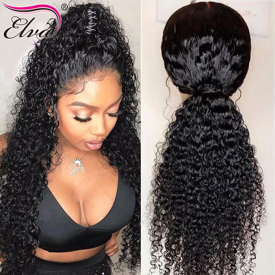 Glueless 13x6 Lace Front Human Hair Wigs Curly Brazilian Remy Pre Plucked Natural Hairline With Baby Hair Bleach Knots Elva Hair