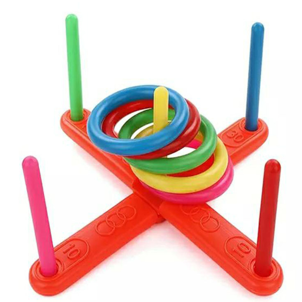 1 Set Plastic Ring Throwing Ferrule Funny Kids Outdoor Sport Hoop Ring Toss Quoits Toys Cross Garden Game Pool For Children Gift