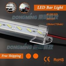 5pcs/lot 8520 led hard strip 72leds/m 100cm led bar light lamps + U aluminum shell + PC clear/milky cover + DC connectors