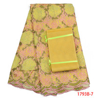 African Lace Fabrics Yellow Rose Pattern Lace Fabric Stones Embroidered Swiss Voile Lace In Switzerland With Aso Oke AMY1793B 2
