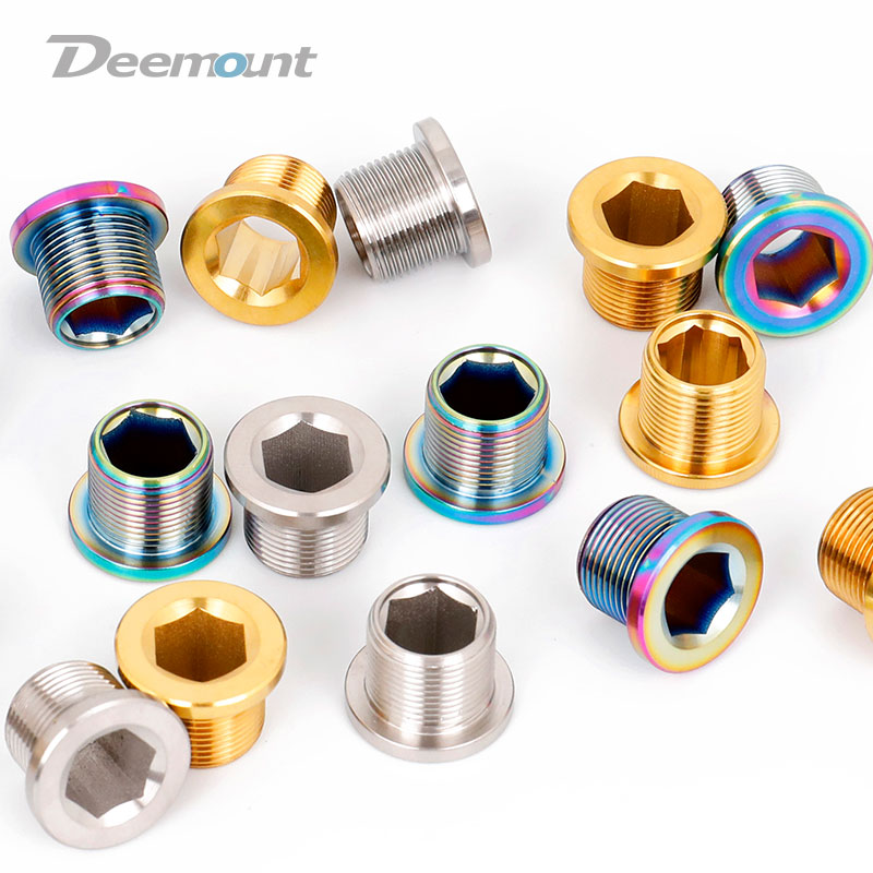 Deemount 2PCS M15*12mm Titanium Alloy Bolt for Bottom Brackets Spline Crank Axis BB Thread Hex Ti TC4 Screws Bike Fasteners