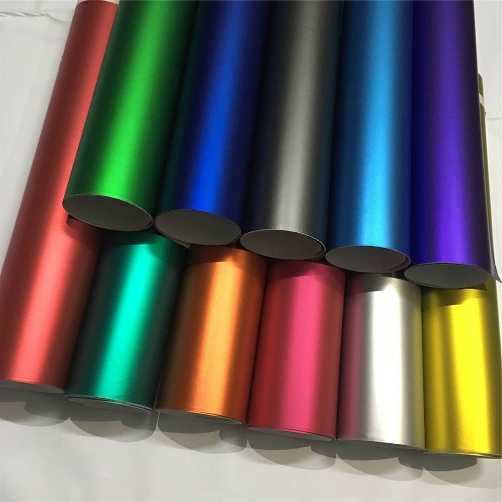 14 Colors Red Blue Gold Green Purple Matte Satin Chrome Vinyl Wrap Film Sticker Decal Bubble Free Car Wrapping Film