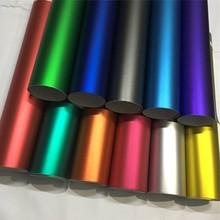 Película de revestimiento de vinilo cromado satinado mate, 14 colores, rojo, azul, dorado, verde, morado, película adhesiva sin burbujas para envolver el coche