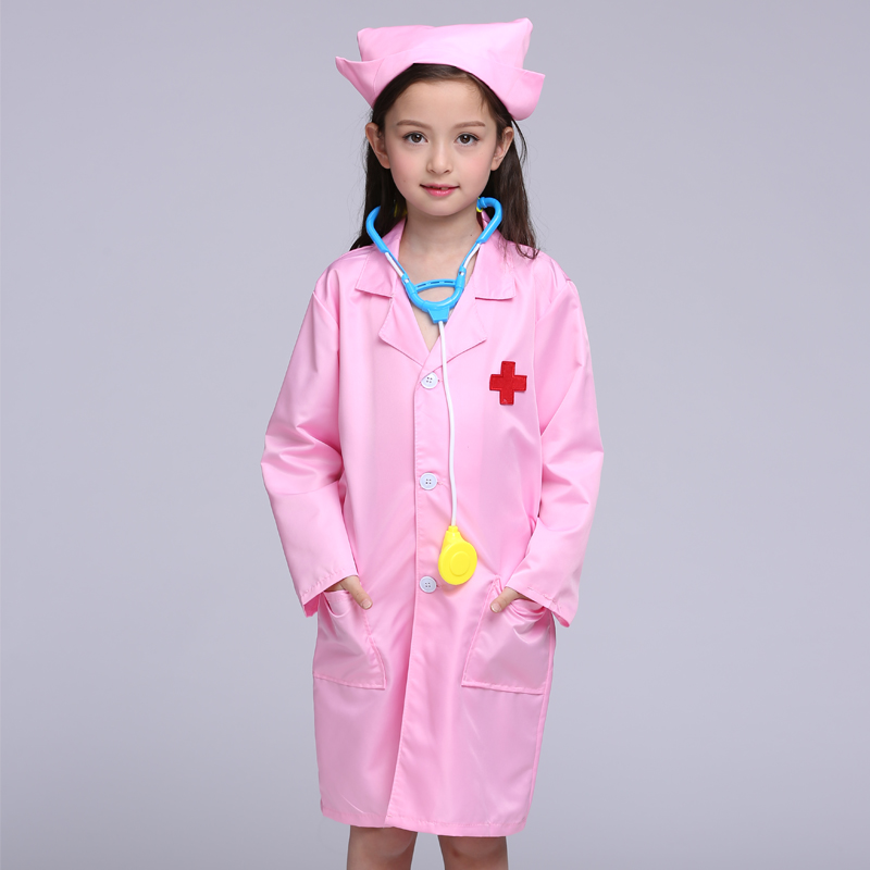 Children Halloween Cosplay Costume Kids Doctor Costume Nurse Uniform For Girls 3pcs ( Coat And Hat And Mask)