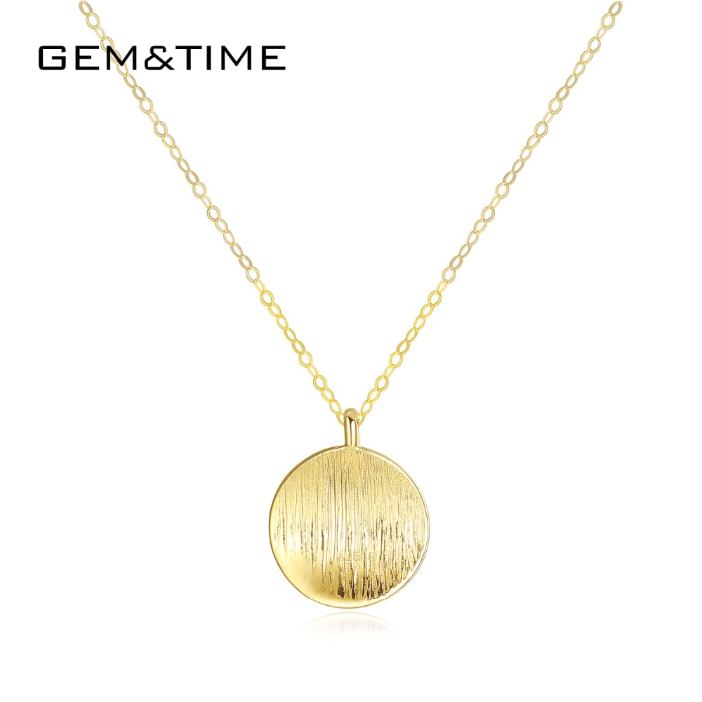 Gem&Time Round Solid Real 14K Gold Pendant Necklaces for Women Wedding Engagement Fine Jewelry Yellow Gold Collier AU585 N14104