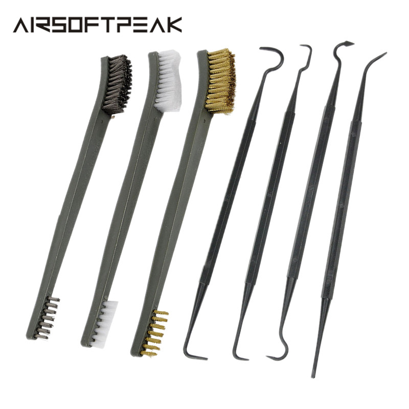 7pcs/Set 3pcs Wire Brush Cleaning Kit Gun 4pcs Nylon Pick Set Universal Hunting Accessory Cleaning Tactical Rifle Cleaning Tools