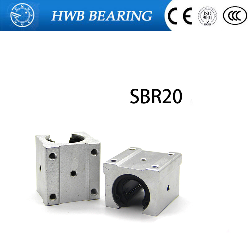 4 pcs SBR20UU SBR20 Linear Bearing 20mm Open Linear Bearing Slide block 20mm CNC parts linear slide for 20mm linear guide SBR20