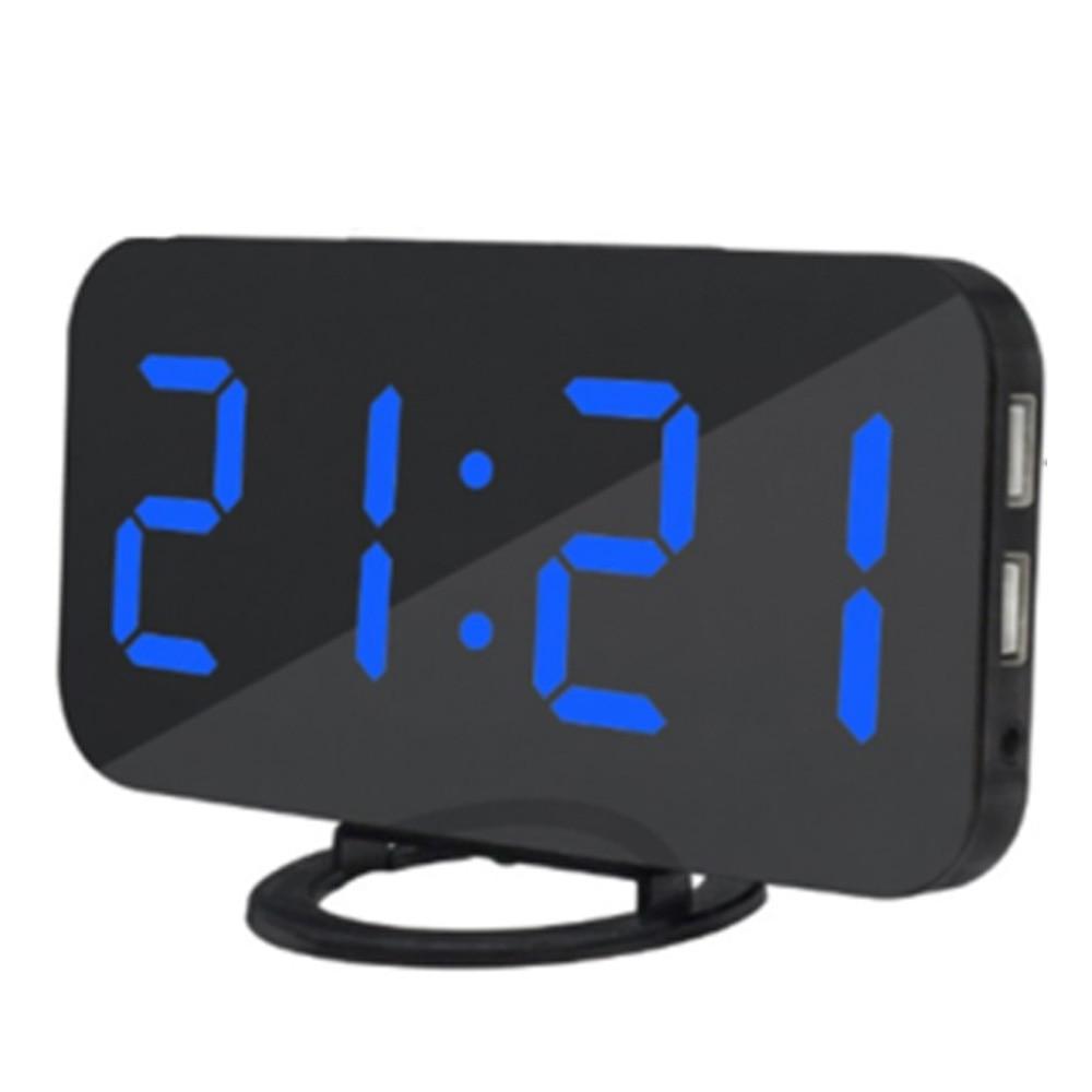 LED Digital Alarm Clock Snooze Dual USB Phone Android Charger Alarm Clock