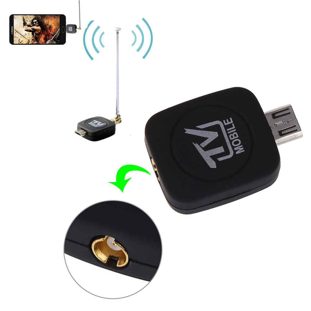 Mini Micro USB 2.0 DVB-T Digital TV Tuner Receiver with Antenna for Android Phone Tablet PC Black