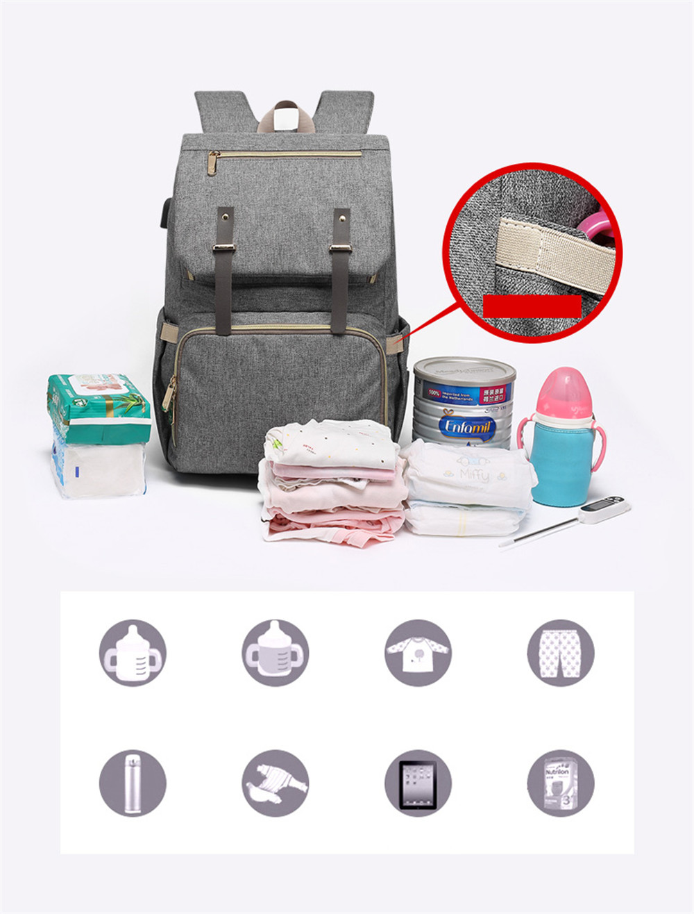 HTB1G7sCafjsK1Rjy1Xaq6zispXaK Fashion Large Capacity Baby Nappy Bag Diaper Bag Purse Multifunction USB Mummy Travel Backpack Women Nursing Bags For Mom Daddy