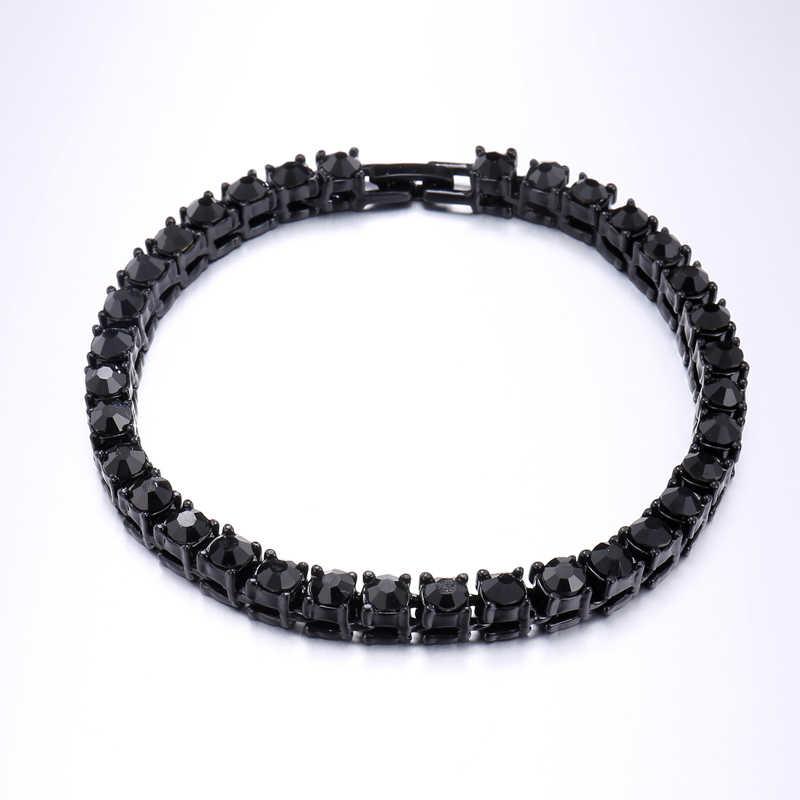 1 wiersz CZ Bling Iced Out Rhinestone cyrkonia bransoletka sieć tenisowa bransoletki dla kobiet mężczyzn linka jubilerska złoty