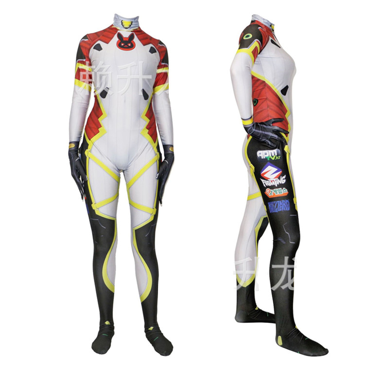 Game OW D.VA Dva Cosplay Costume Hana Song Sexy 3D Printing Bodysuit Adults Lycra Spandex Costume