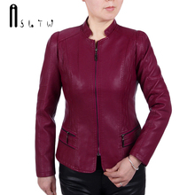 Asltw XL-6XL кожаная куртка Новинки для женщин мода плюс Размеры Стенд воротник куртка на молнии с длинными рукавами Искусственная кожа пальто
