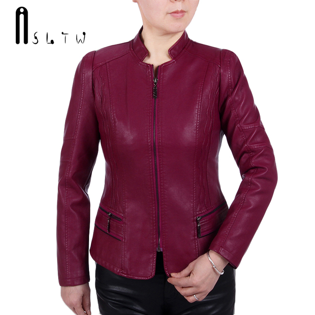 ASLTW XL-6XL Leather Jacket Women New Fashion Plus Size Stand Collar Zipper Jacket Solid Long Sleeve Faux Leather Coat